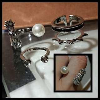 (set of 3) 100%new 珍珠閃石開口戒指 黑銀雙層開口介子 簡約elegant rings