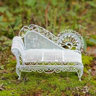 Miniature Furniture:  Outdoor Garden Accessories Benches Table Set
