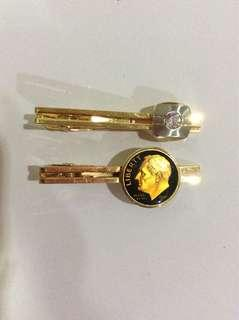 Vintage gold toned tie clips (set of 2)