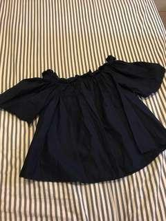 Navy Blue Off Shoulder Top
