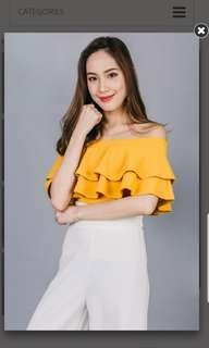 BNWT Ohvola Florence Ruffle Off Shoulder Top In Mustard