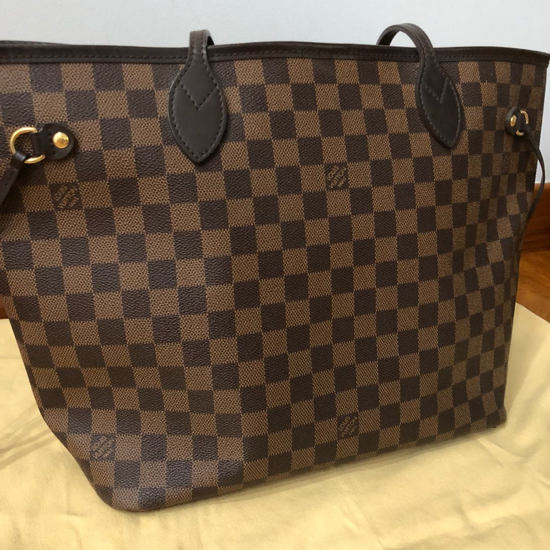 f9c332c44543 AUTHENTIC LOUIS VUITTON NEVERFULL DAMIER EBENE MM