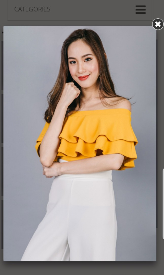 7d1f6e388e218 pending BNWT Ohvola Florence Ruffle Off Shoulder Top In Mustard ...