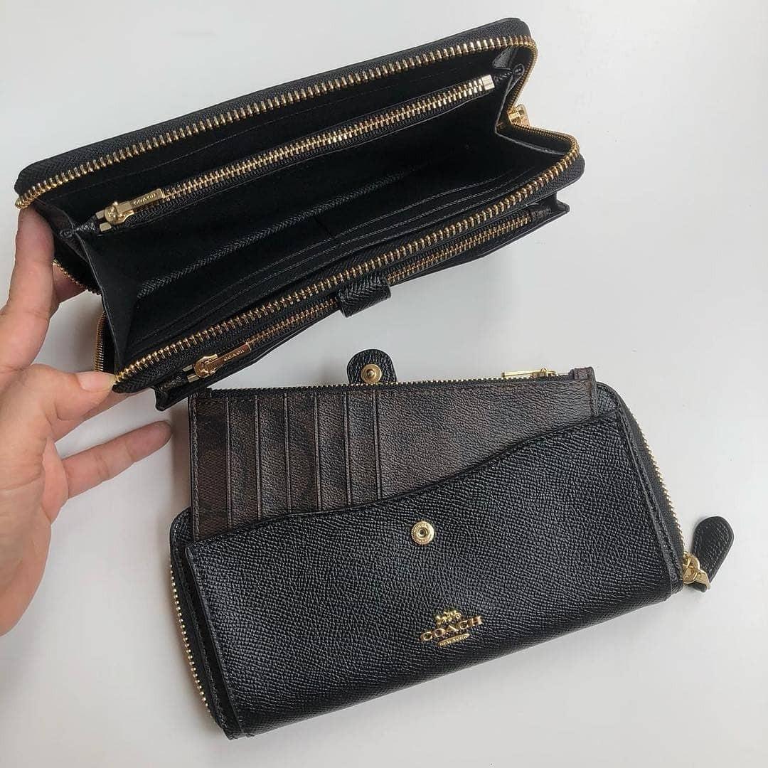 Coach Multifunction Wallet in Crossgrain Leather  F22997 (Black) 10  card-slots 33ecf6073f159