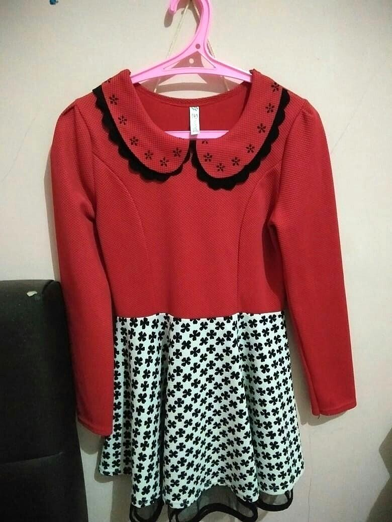 Dress Merah - Putih | Winter Dress