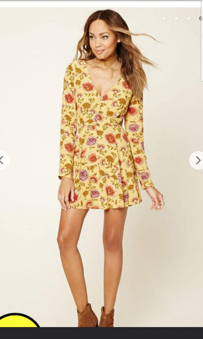 9d275f5dcef Forever 21 Pretty Yellow Mustard Floral Cutout Skater Summer Dress ...