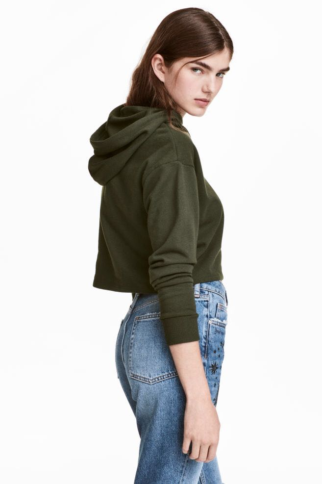 ddbd05de783 H&M Basic Olive Green hoodie crop top, Women's Fashion, Clothes, Tops on  Carousell
