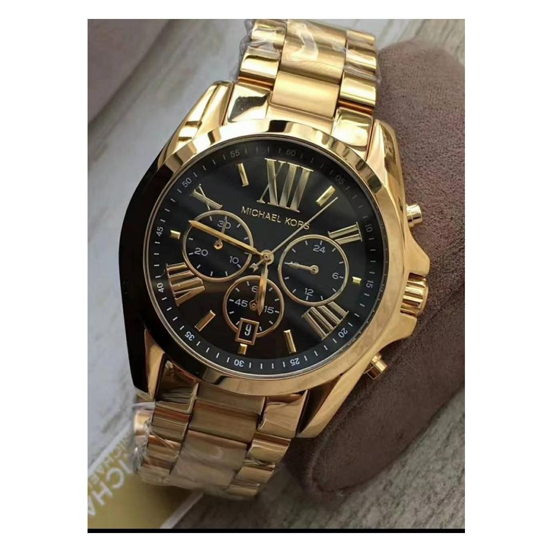 4a5f53b0a Michael Kors Mid-Size Bradshaw Chronograph Black Dial Gold-tone Women's  Watch - MK5739 on Carousell