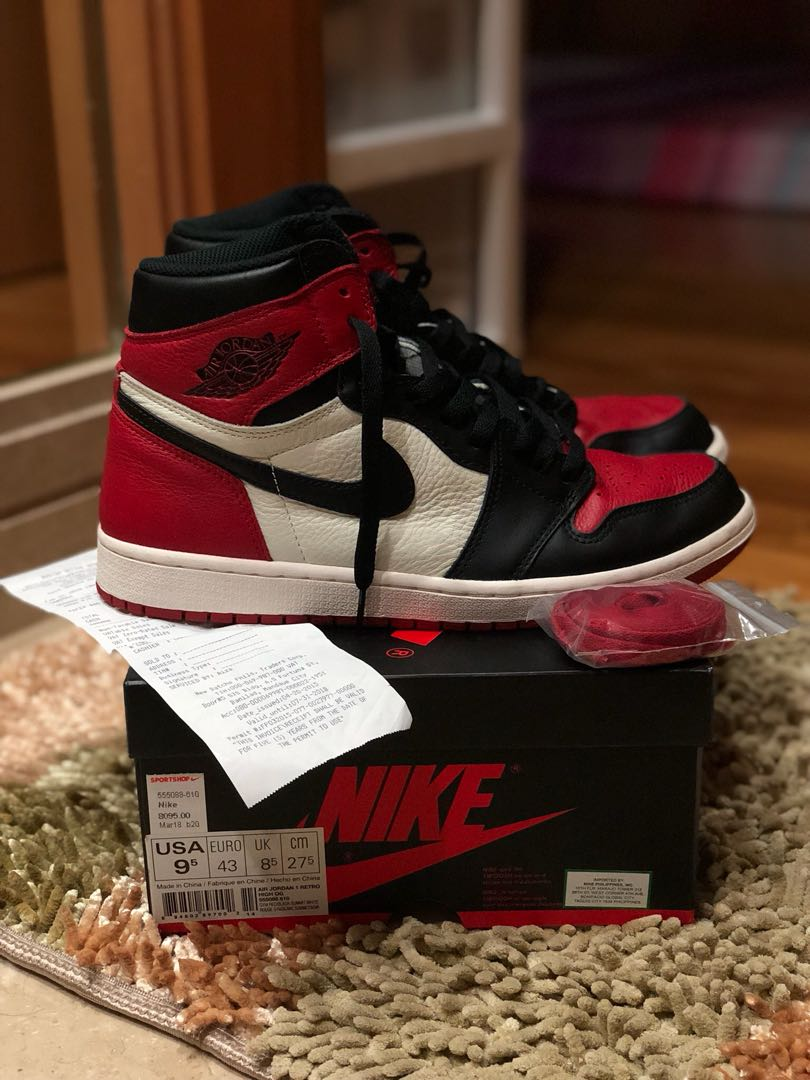 best website a13fd 4c219 Nike Air Jordan 1 Retro High OG Bred Toe Us9.5, Men s Fashion ...