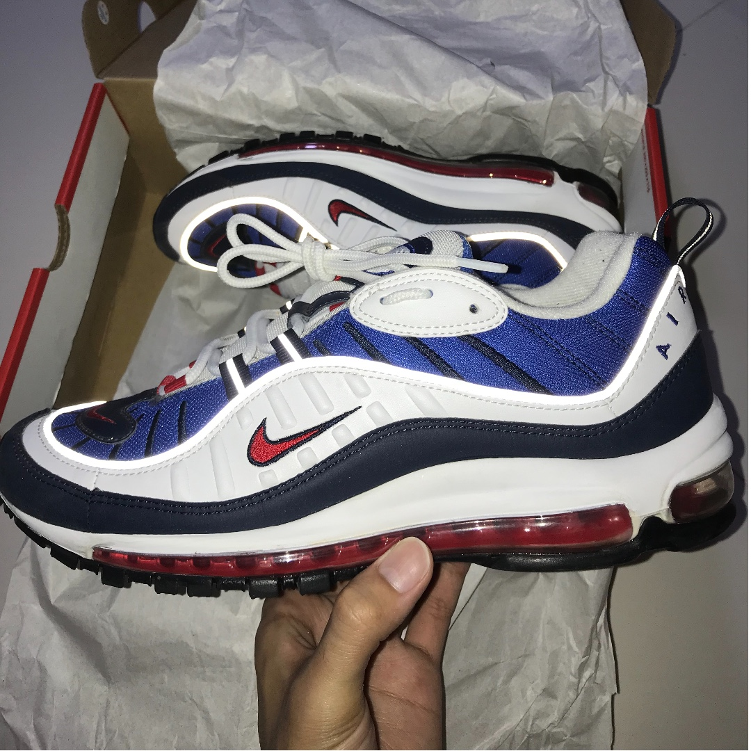 "the best attitude ebe4b 1779d Nike Air Max 98 ""Gundam"", Men's Fashion, Footwear, Sneakers on Carousell"