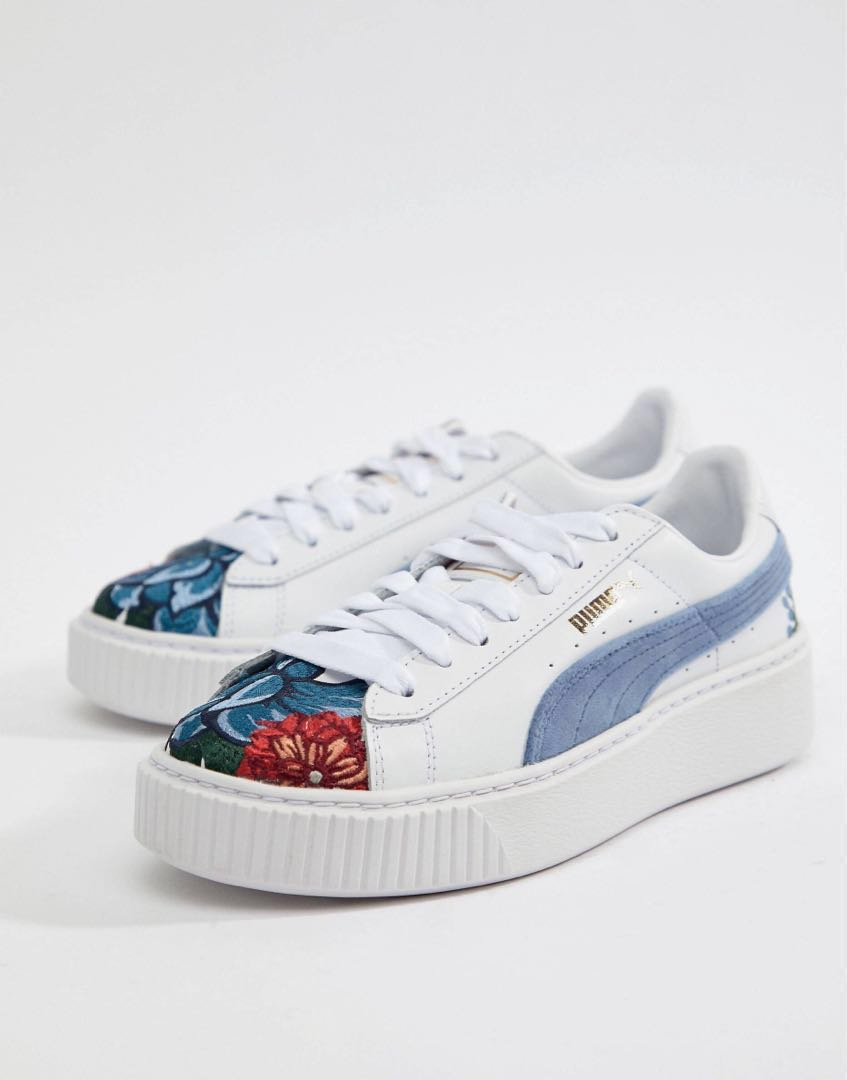 9e966f0000 Puma Suede Platform with Embroidery, Women's Fashion, Shoes ...