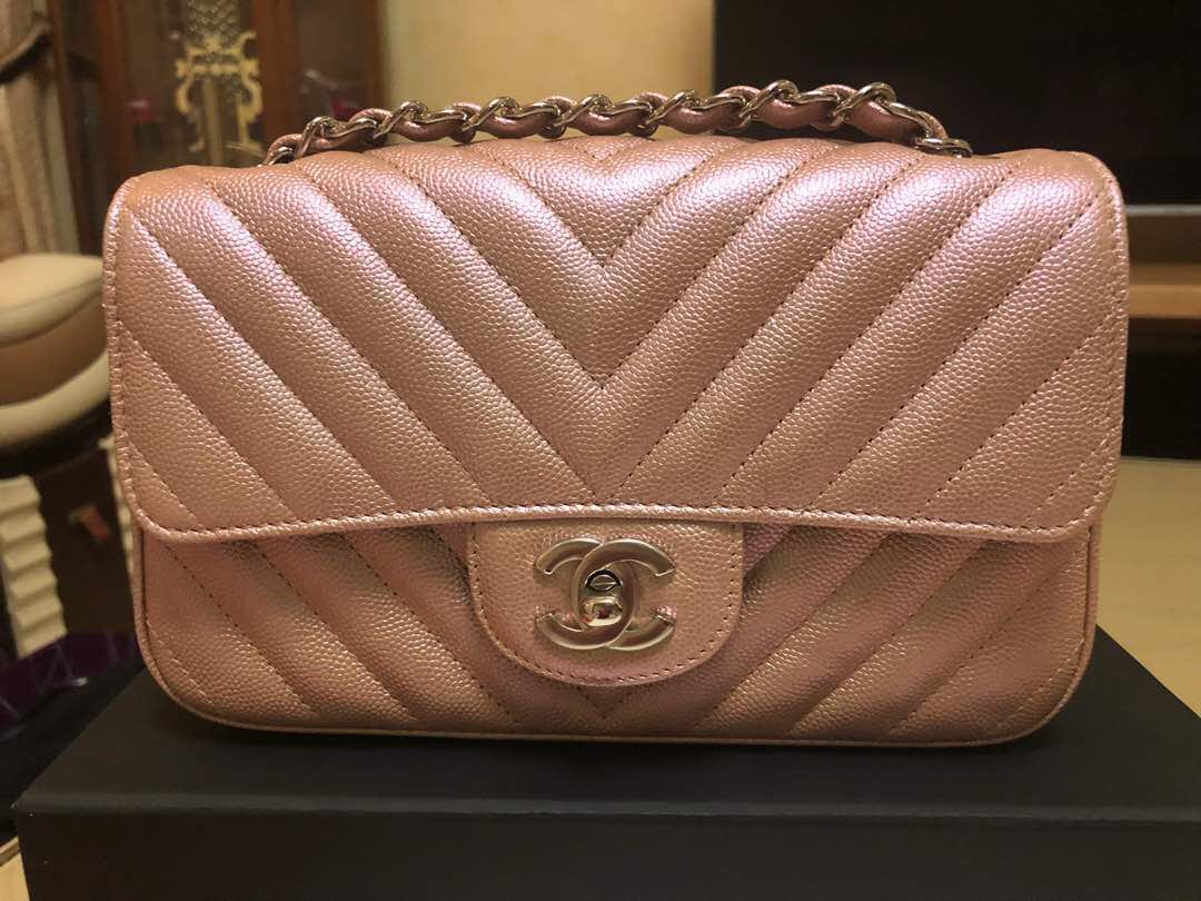 a37ddd56e672c5 Rare Gems LNIB Chanel Mini Rectangular Rose Gold chevron with LGHW ...