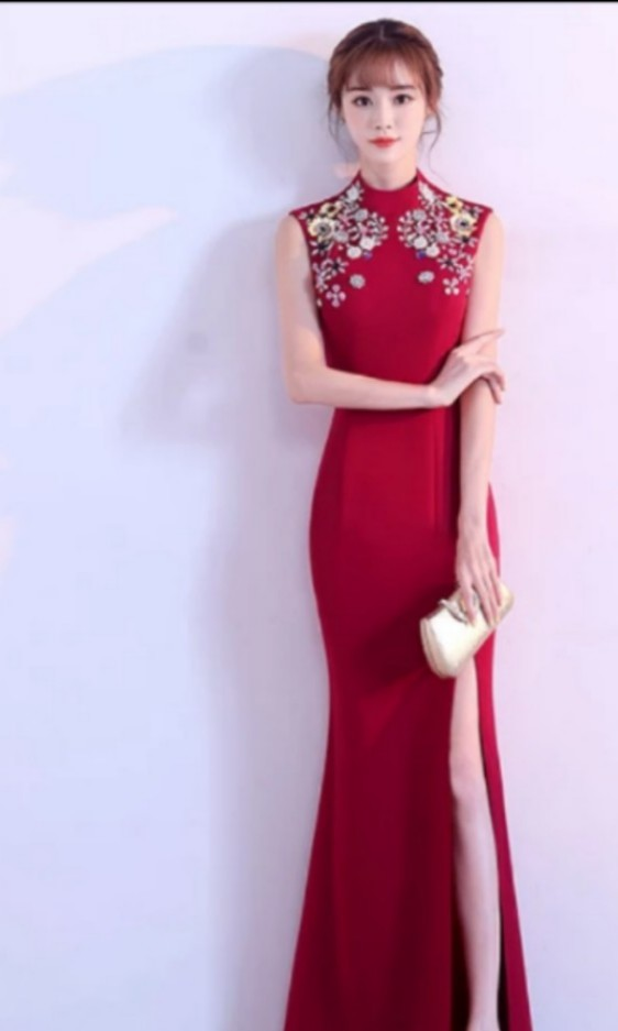 Red Modern Long Cheongsam Qipao Tea Ceremony Wedding Maxi Dress