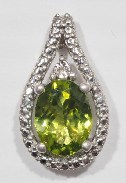 Stamped 925 Silver Natural Diamond & Peridot Pendant