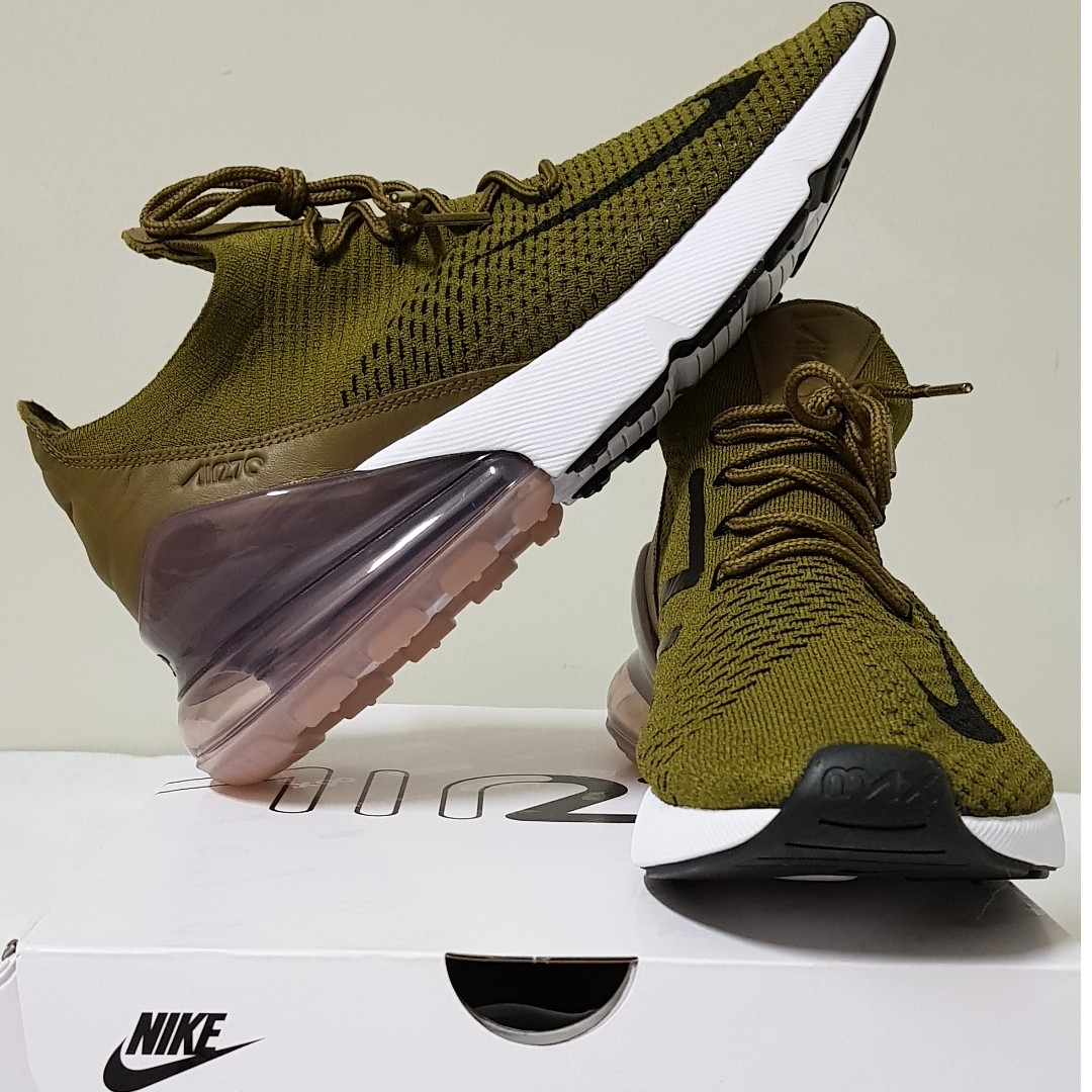 9fd70114c5 US 9 Nike Air Max 270 Flyknit Olive, Men's Fashion, Footwear ...
