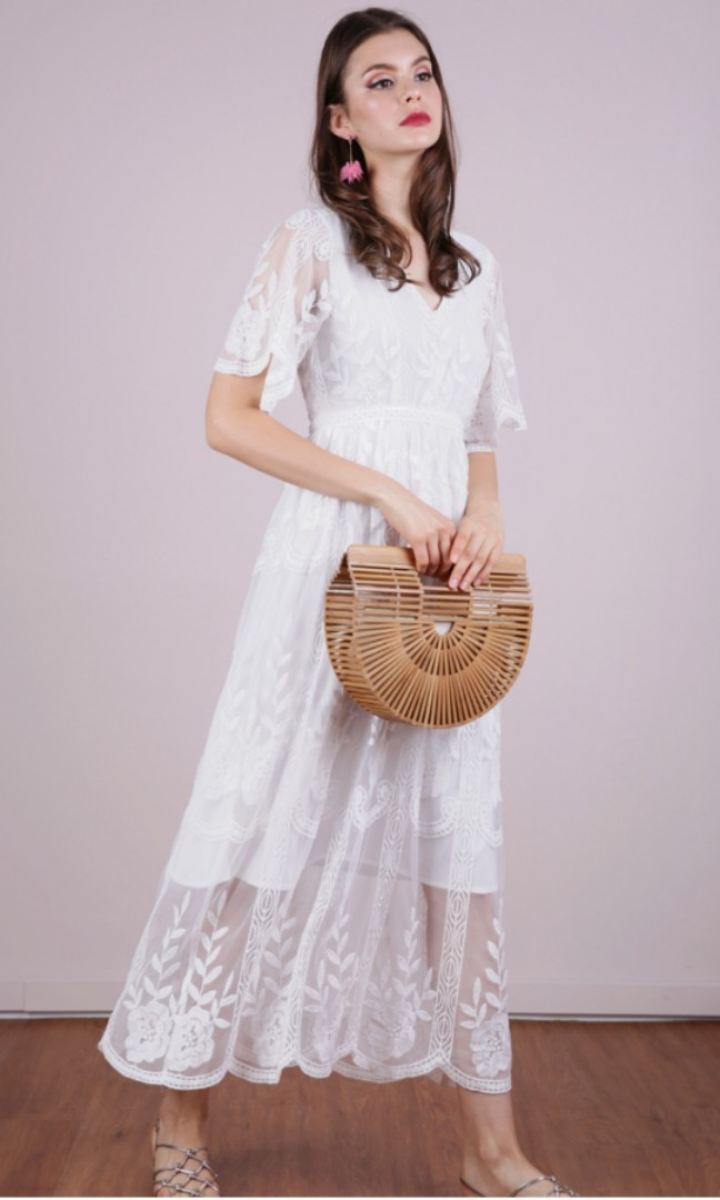 d2b5d5aee73 White embroidery maxi dress from TTR