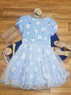Sky blue floral dress with lacey bottom