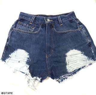 distressed/ripped blue denim high waist shorts