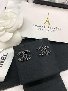 New arrival Chanel earrings in Black hardware