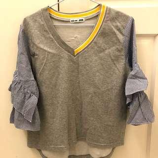🚚 正韓 V領灰色棉質上衣拼接條紋袖 近全新