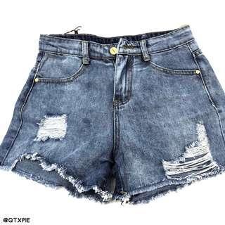 denim frayed high waist shorts