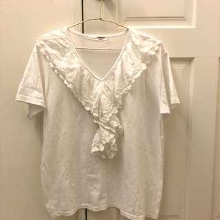🚚 正韓 V領提花蕾絲 白色棉質上衣 近全新