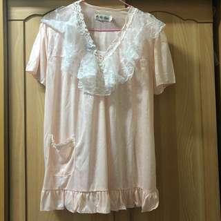 🚚 小資女孩👧浪漫蕾絲粉紅公主睡衣