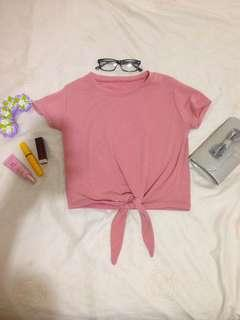 Pink knitted knot top