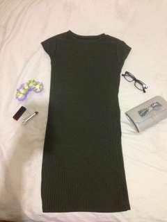 Olive green fitted dress