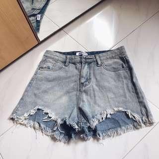 Denim Highwaisted Raw Hem Shorts