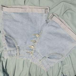 maong highwaisted shorts
