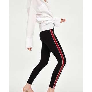 Zara woman red side striped leggings pants trousers top blouse asos forever21 mango maje zalora club monaco dior new look 特別紅白色側間條彈力貼身黑色褲 超靚顯瘦