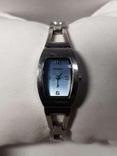 Fossil watch for ladies with stainless steel blue dial