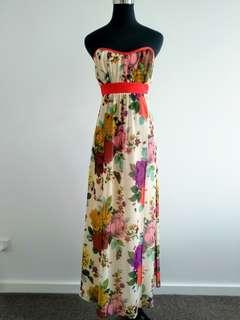 Ted Baker floral maxi cocktail party dress size 2 AU10