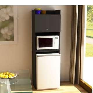 Microwave and Refrigerator Kitchen Cabinet