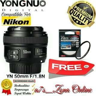 Lensa Yongnuo YN 50 mm F/1.8 Standard Prime Lens For Nikon
