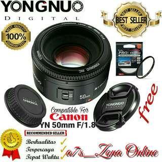 Lensa Yongnuo YN 50 mm F1.8 Standard Prime Lens AF/MF For Canon