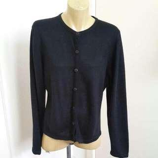 Black Button Up Scoop Neck Cardigan