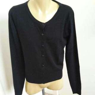 Black Button Up Scoop Neck Cardigan M