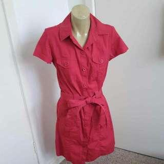 Metro Now Red Button Up Dress Size 10