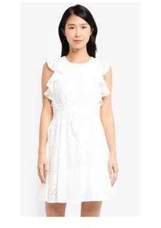 🚚 ZALORA Eyelet Embroidery Flutter Dress