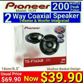"PIONEER Flush Mount  Car Speaker 2 way Coaxial 6.5"" (Built-in Tweeter +woofer) for most saloon cars.  ( Model:1634R) Usual Price: $ 69.90. Special Price: $39.90 ( Brand New In Box &  Sealed)"