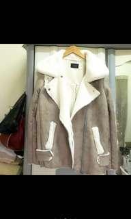 全新 正韓 韓製 韓貨 麂皮 鹿皮 後刷毛 鋪毛 保暖 爆暖 加厚 風衣外套 騎士外套 風衣外套 短版外套 短版大衣
