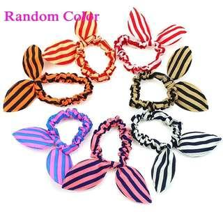 🚚 Radom color 3 pieces per set cute fashionable  striped bunny hair tie