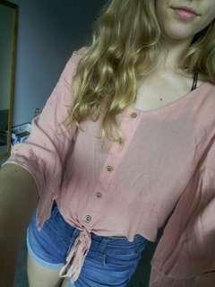 Pink boho mirrou top