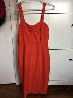 Orange bodycon dress