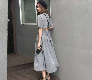 Black gingham midi dress Size S