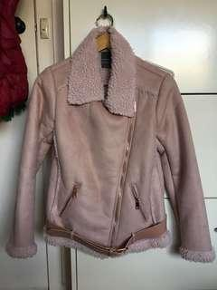 Pink jacket with shearing