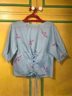 Pinstripe japanese kimono style top