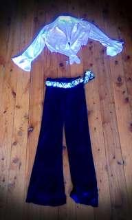 Mink Pink Crop Top & Velvet Purple Festival Dance Pants